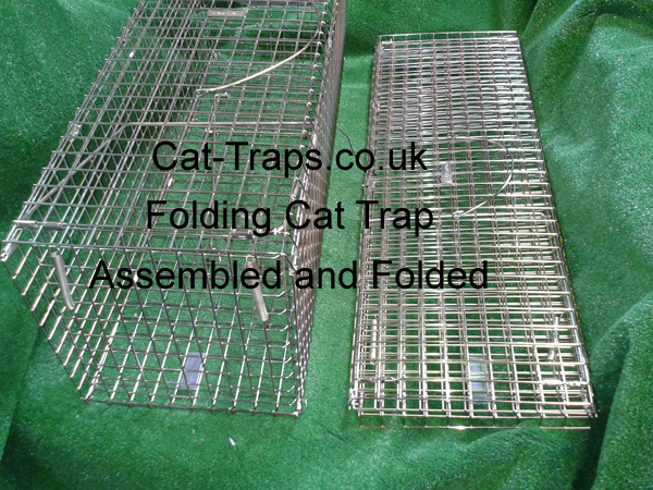 folded cat trap and assembled cat trap